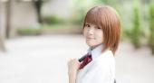 日本短发清爽美女高中生 学生服感觉好可爱