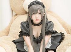 肉萌妹enako性感女仆cos图集 黑色蕾丝短裙遮不住