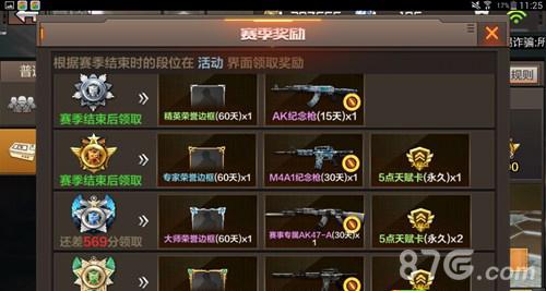 cf手游积分赛奖励详解  精英奖励:精英荣誉边框(60天),ak47纪念枪(15