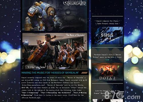 Daniel Sadowski官方网站对《天际奇兵》音乐的推荐介绍