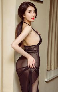 媚眼丹唇美女模特施诗性感照片 制服古风透视装私房照美图