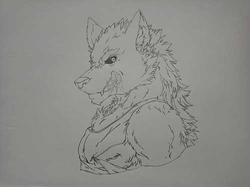 来自玩家澈C的素描作品,狼人!