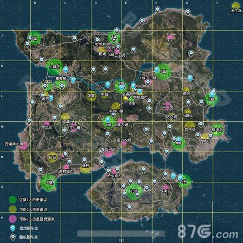 绝地求生刺激战场全物资标注地图