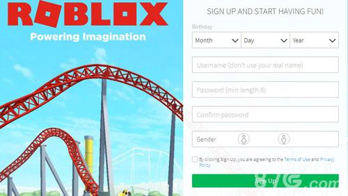 Roblox注册界面