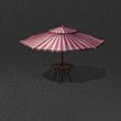 紅白間條太陽傘