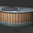 半圓木板洗手池