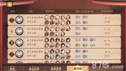 平安京麻将棋九侍阵容攻略