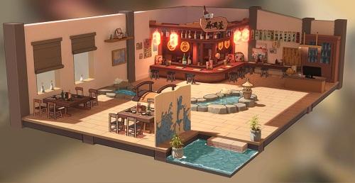 【《蒼藍誓約》3D基建場景-深夜居酒屋】