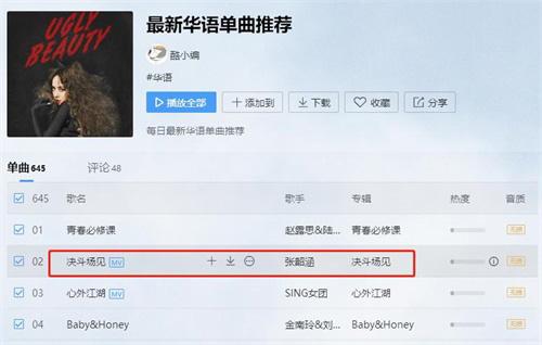 酷我音樂平臺中,《決斗場見》登上最新華語單曲推薦第二位